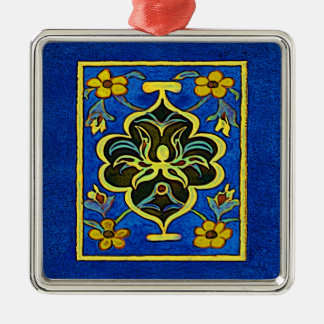 Gewgaw in Blue Square Metal Christmas Ornament