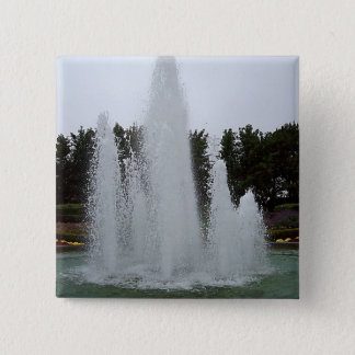 Geyser fountain surrounded by flowers button