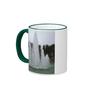 Geyser fountain surrounded by flowers coffee mugs