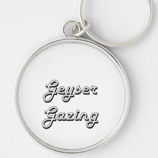 Geyser Gazing Classic Retro Design Silver-Colored Round Keychain