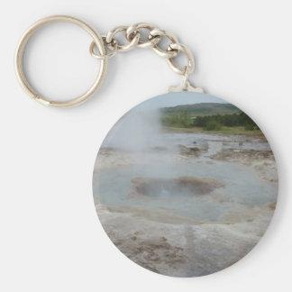 Geyser Basic Round Button Keychain