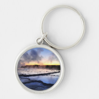 Geyser Smoke at Sunset Silver-Colored Round Keychain