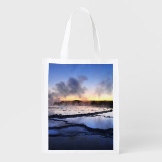 Geyser Smoke at Sunset Reusable Grocery Bag