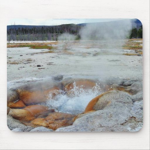 Geysers Steam Boiling Yellowstone Mousepads