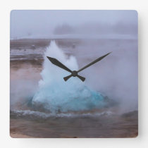 Geysir (hot spring) in Iceland Square Wall Clock