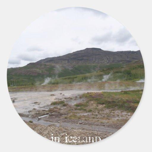Geysir, Islandia Pegatina Redonda