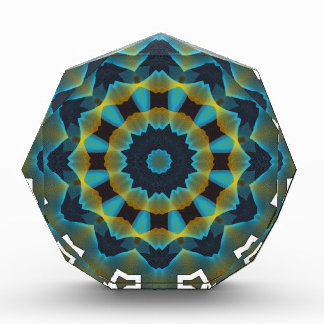 gfa1162 BLUES GREEN FRACTAL GEOMETRIC DIGITAL ART Acrylic Award