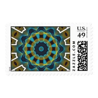 gfa1162 BLUES GREEN FRACTAL GEOMETRIC DIGITAL ART Stamps