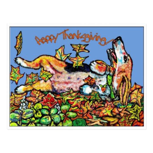 GGBR Happy ThanksGiving Basset Postcard