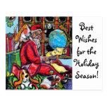 GGBR Holiday Postcard - Santa & Bassets