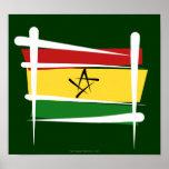 Ghana Brush Flag Poster