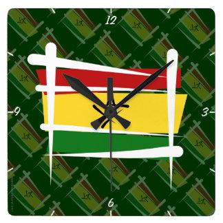 Ghana Brush Flag Square Wall Clock