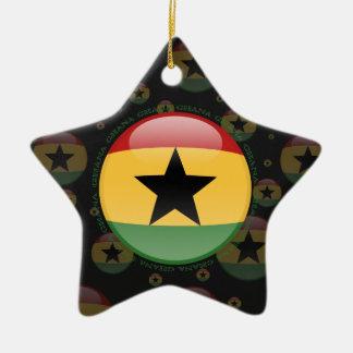 Ghana Bubble Flag Double-Sided Star Ceramic Christmas Ornament