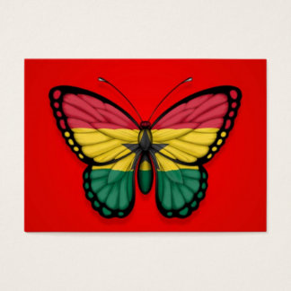 Ghana Butterfly Flag on Red Business Card