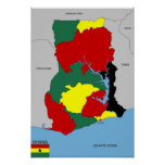 ghana country map flag posters