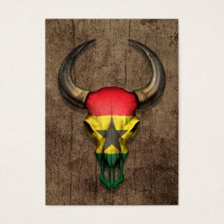 Ghana Flag Bull Skull on Wood Effect Business Card