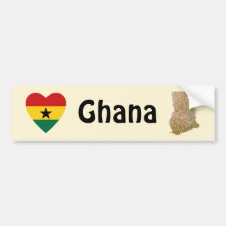 Ghana Flag Heart + Map Bumper Sticker