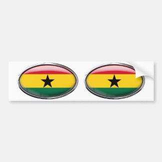 Ghana Flag in Glass Oval Bumper Sticker