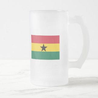 Ghana FLAG International 16 Oz Frosted Glass Beer Mug