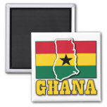 Ghana Flag Land 2 Inch Square Magnet