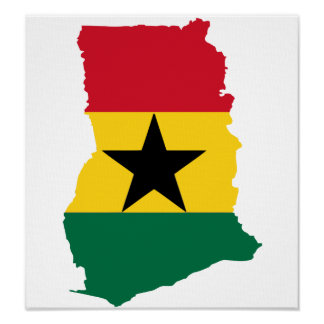 Ghana Flag Map full size Poster