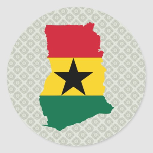 Ghana Flag Map full size Stickers