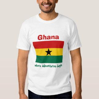 Ghana Flag + Map + Text T-Shirt