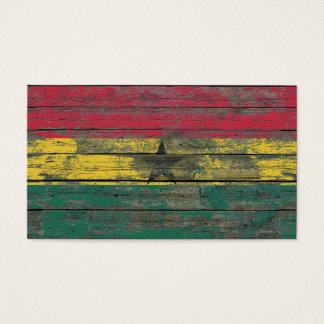 Ghana Flag on Rough Wood Boards Effect Business Card