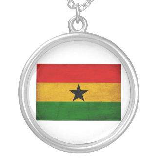 Ghana Flag Round Pendant Necklace
