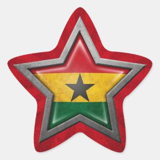 Ghana Flag Star with Rays of Light Star Sticker