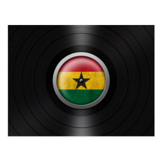 Ghana Flag Vinyl Record Album Graphic Postcard