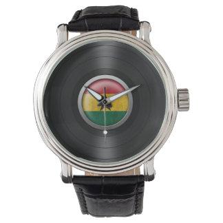 Ghana Flag Vinyl Record Album Graphic Wrist Watch
