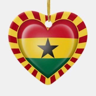 Ghana Heart Flag with Star Burst Double-Sided Heart Ceramic Christmas Ornament