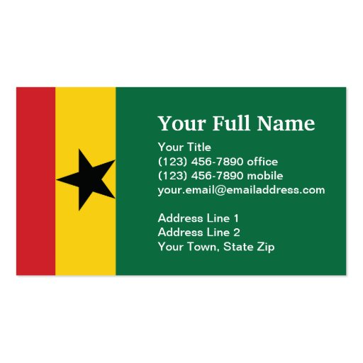 Ghana plain flag double sided standard business cards for Patriotic business card template