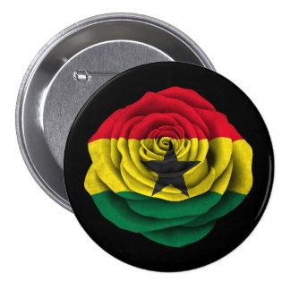 Ghana Rose Flag on Black Pinback Button