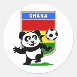 Round Sticker with Ghana Football Panda design
