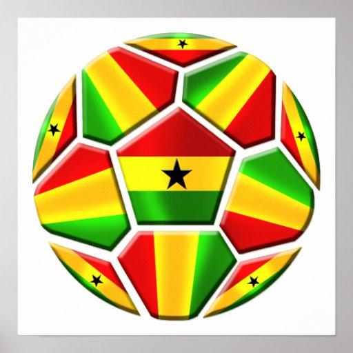 Ghana The Black Stars soccer ball Ghanaian flags Poster