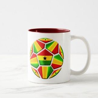 Ghana The Black Stars soccer ball Ghanaian flags Two-Tone Coffee Mug