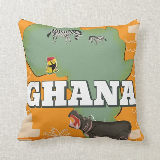 Ghana vintage travel poster throw pillow Zazzle