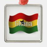 Ghana Waving Flag Christmas Tree Ornament