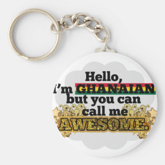 Ghanaian, but call me Awesome Basic Round Button Keychain