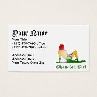 Ghanaian Girl Silhouette Flag Business Card