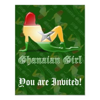 Ghanaian Girl Silhouette Flag Card
