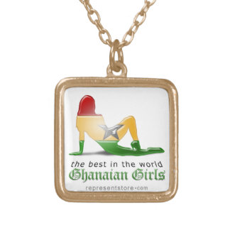 Ghanaian Girl Silhouette Flag Gold Plated Necklace