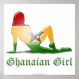 Ghanaian Girl Silhouette Flag Poster