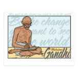 Ghandi Be The Change Quote Postcard