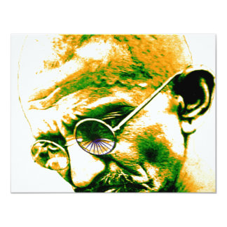 "Ghandi in orange, green and white 4.25"" x 5.5"" invitation card"
