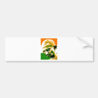 Ghandi in orange green and white with flag bumper sticker