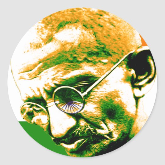 Ghandi in orange green and white with flag classic round sticker