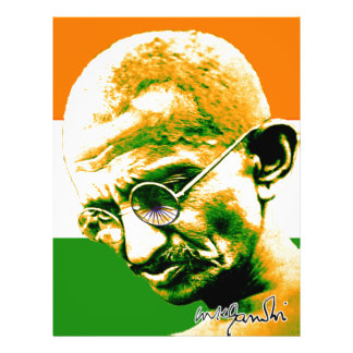 Ghandi in orange green and white with flag flyer